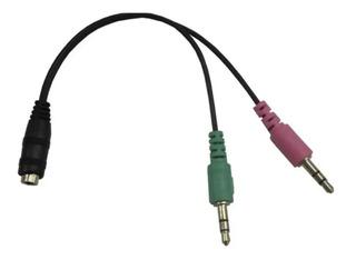 Cable Adaptador Audio Mini Plug 3,5mm Mic Auricular Ps4 Pc