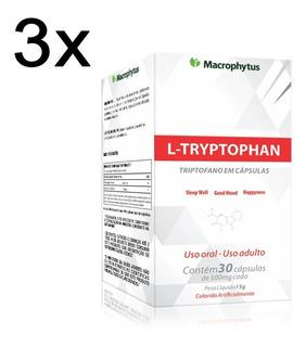 3 L-tryptophan 500mg 30 Caps - Combate A Insônia E Mal Humor
