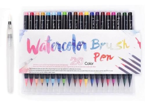 Watercolor Brush Pen Marcador X 20 Punta Pincel Nuwa +regalo