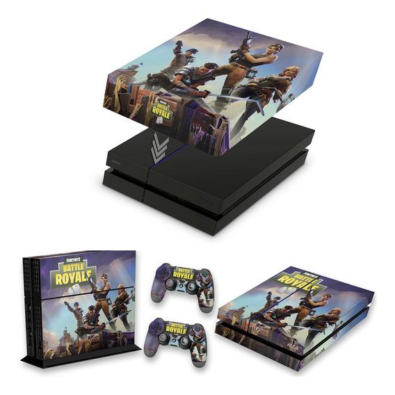 Kit Capa E Skin Ps4 Fat Playstation 4 Fortnite Battle Royale