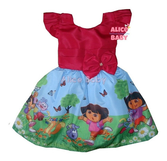 Vestido Temático Infantil Festa Dora Aventureira Mod.1