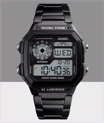 Relógio Digital De Aço Inoxidável - Preto