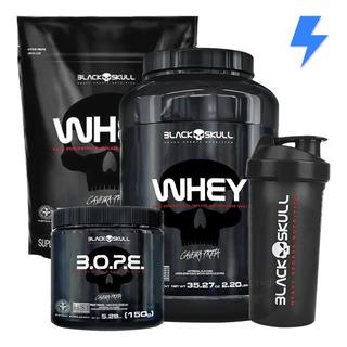 Whey Protein 1kg + Whey 900g + Pré Treino Bope - Black Skull