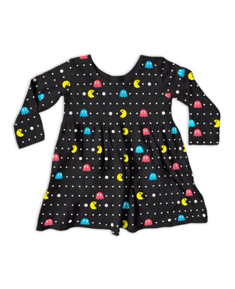 Vestido Infantil Manga Longa Pacman