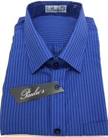 Nº 7/8 - Camisa Masc. Azul Bic Listrada - M. Curta Plus Size