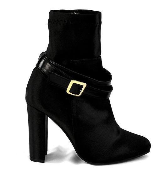 Zapatos Botin Dama Tacon Ancho Mujer Gamuza Negro Satin Corr