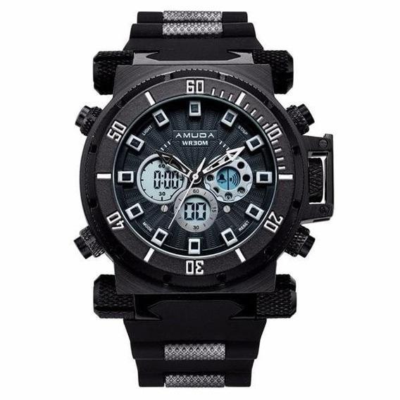 Relógio Masculino Luxo Preto Amuda Original Am5002
