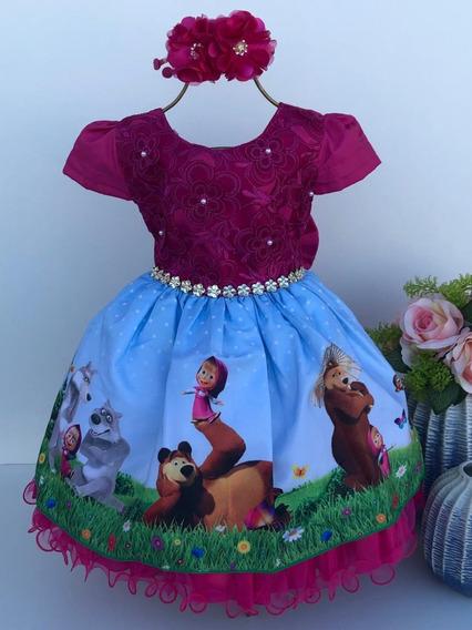 Vestido Infantil Masha E O Urso ( Tiara De Brinde )
