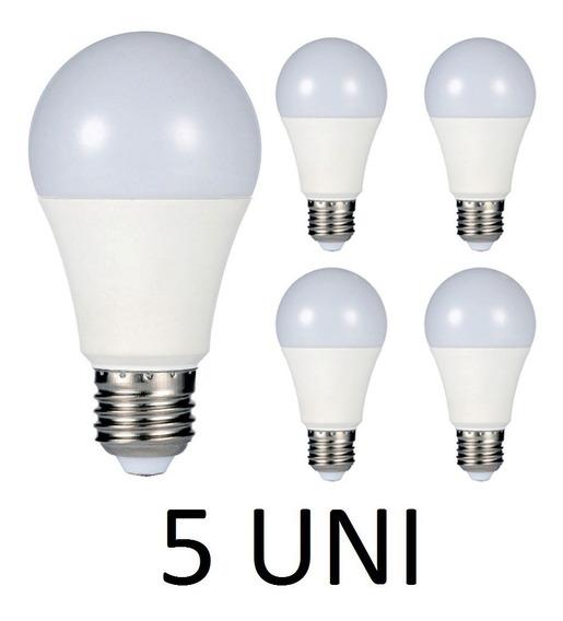 5 Lâmpada Led 7w Bulbo Branco Frio E27 Bivolt Casa Comércio