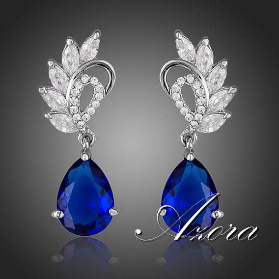 Brinco Feminino Cubic Zirconia Azul Gota De Água Brincos