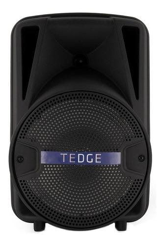 """Caixa de som Tedge 8"""" portátil com bluetooth preta"""