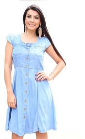 Roupas Femininas Vestido Jeans Medio Moda Evangélica Ref0035