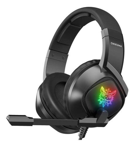 Imagem 1 de 2 de Fone de ouvido over-ear gamer Onikuma K19 preto com luz  rgb LED