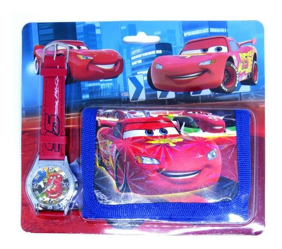 Relógio + Carteira 3d Mcqueen Cars Analógico Oferta Presente