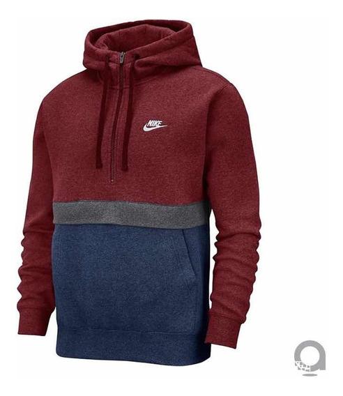 Sudadera Nike Caballero Color Vino Con Azul Marino