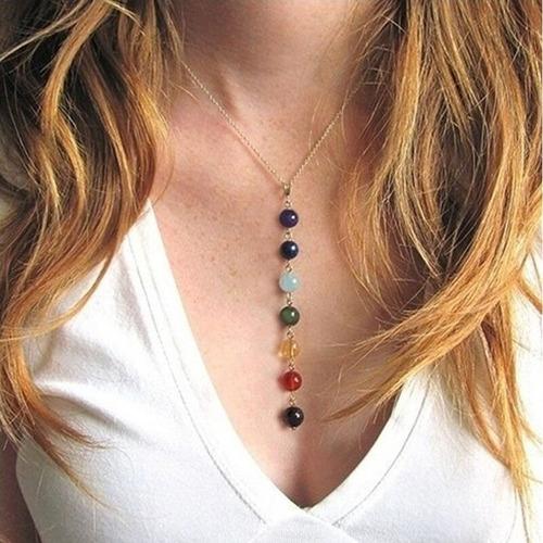 Collar Chakras Equilibrio Mujer Piedras Naturales Cadena