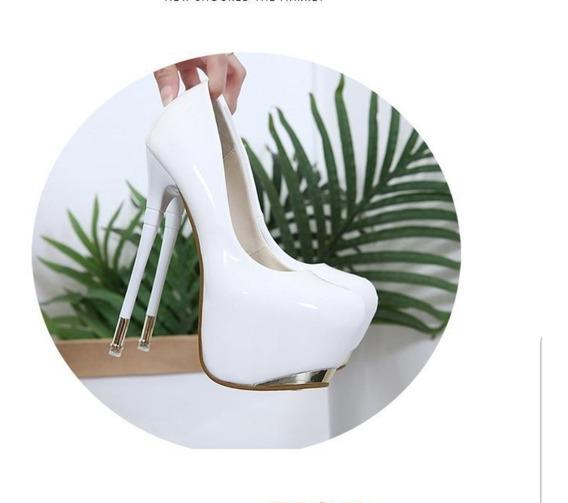 Sapato Scarpin Plataforma Salto Alto Fino Importado 31 A 38