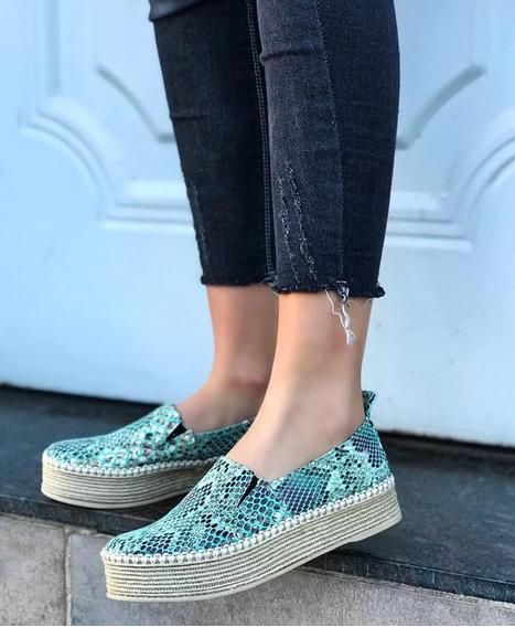 Zapato Mocasines Zapatillas Calzado Liviano Mujer Dama Colores Plataforma Base Yute Primavera 2019 Verano 2020 | Art 100