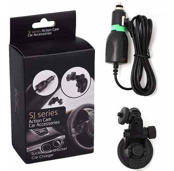 Carregador Veicular + Ventosa Sjcam Sj4000+suporte De Cabeça