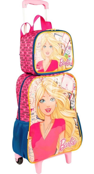 Kit Mochila Barbie Infantil Rodinhas Com Lancheira E Estojo
