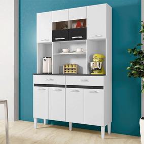 Armário De Cozinha 8 Portas 2 Gavetas Ônix Branco/preto - Ch