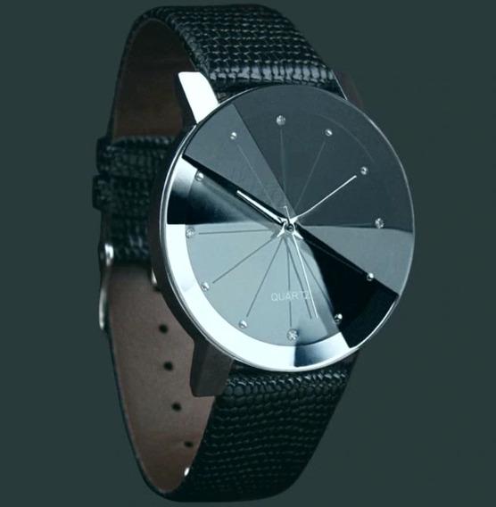Relógio Casual Unissex Pulseira De Couro Brilhante Quartz