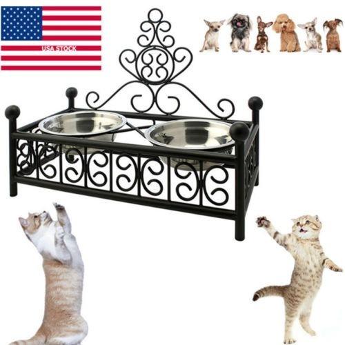 Imagen 1 de 1 de Hierro Forjado Caliente Perro Gato Comedero Metal Elevado So