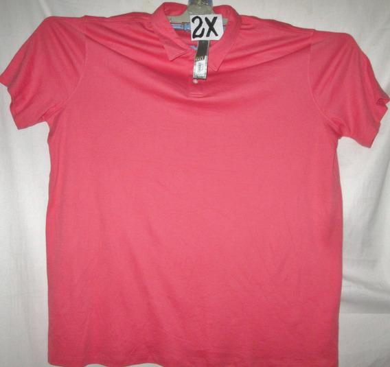 Camiseta Coral/salmon Tipo Polo De Hombre Talla 2x Apt.9