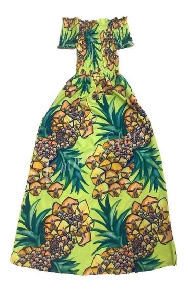 Vestido Feminino Longo Estampas Abacaxi Manga Ciganinha