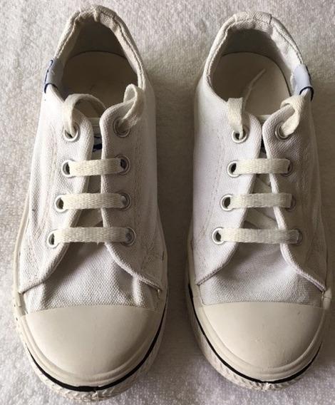 Zapatillas Blancas Talle 30 Lona Y Puntera Reforzada