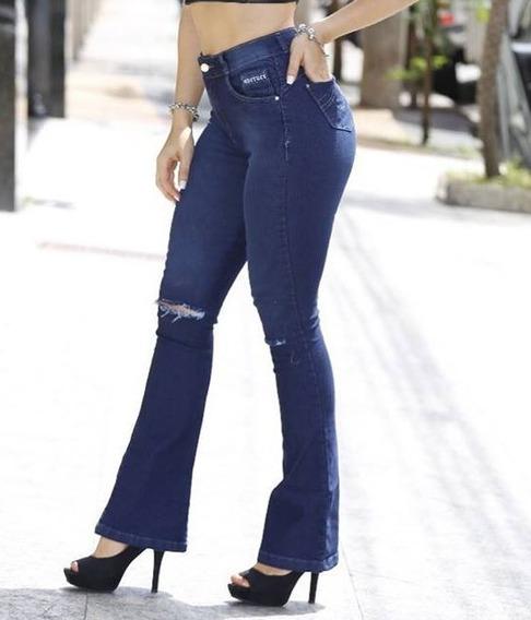 Calça Jeans Marca Meitrix Flare, Cintura Média, Calça Flare
