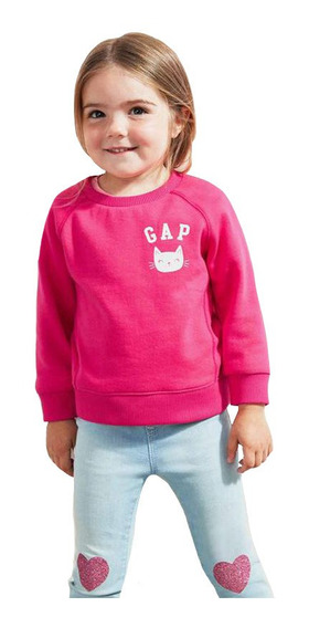 Sudadera Bebé Niña Cerrada Estampada Cuello Redondo Rosa Gap