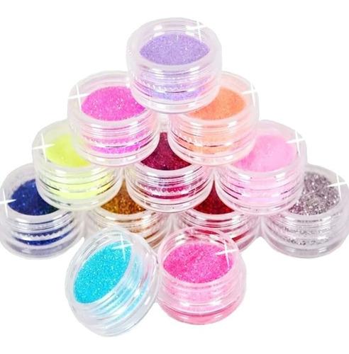 Glitter Set X 12 Unds Nail Art Manicura Decoracion De Uñas