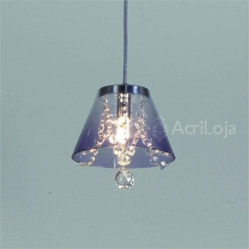 Luminária Lustre Mini Fiore Pendente Em Acrílico Fumê 17 Cm