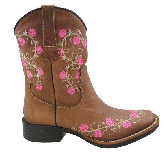 Bota Texana Feminina Tucson Madeira/rosa