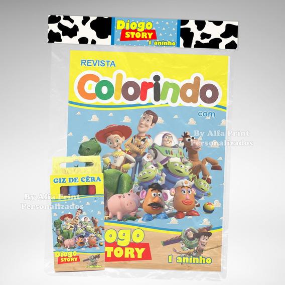 50 Kit Colorir Toy Story Revista Giz Lembrança + Brindes