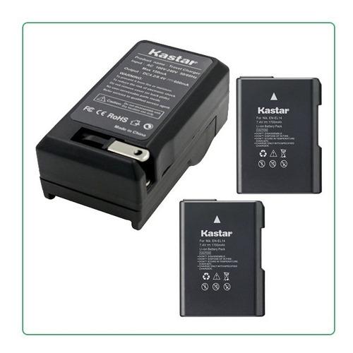 2 Bateria Y 1cargador En-el14 P/ Nikon Df D3100 D3200 D5100