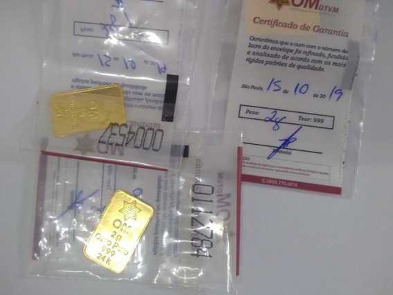 Barra Lacrada 2 Gramas Puro 999 24k Ouro Minas Garantia Cvm