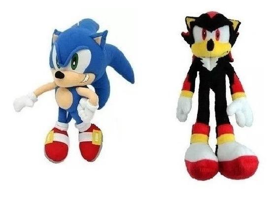 2 Bonecos Pelúcia Sonic E Shadow 35 Cm Unissex Antialérgico