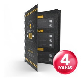 5x Cardápio Personalizado Pvc 4x Páginas 14x21cm Arte Grátis