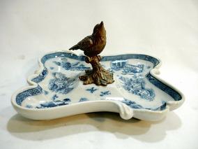 Porta Cartão Petisqueira Porcelana Escultura Passaro Bronze