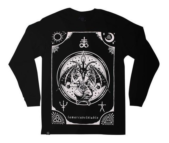 Playera Manga Larga Baphomet /kingmonster