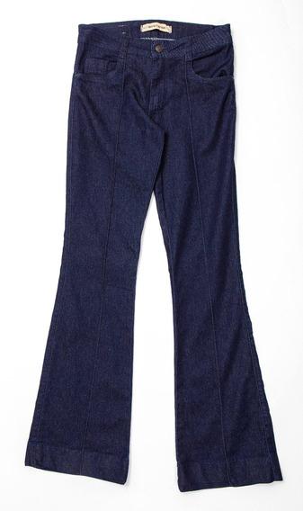 Calça Jeans Flare Nervuras Frente - Jeans Escuro