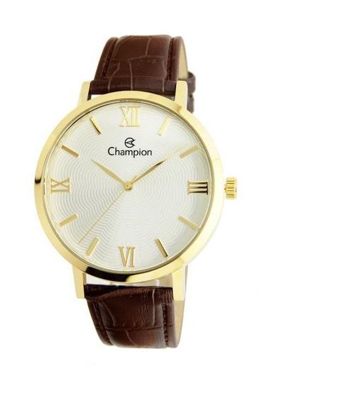 Relógio Champion De Couro Feminino Cn20604b Marron