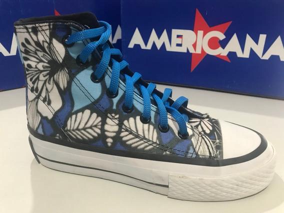 Zapatillas Botitas De Lona Americanas Flores