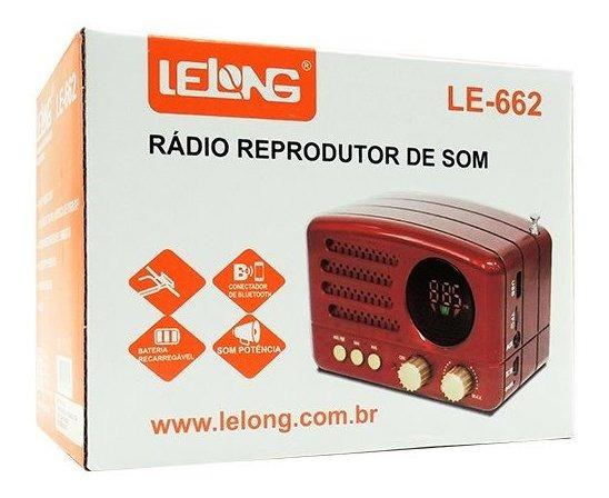 Rádio Portátil Retrô Fm Mp3 Microsd Bluetooth Usb Lelong 662