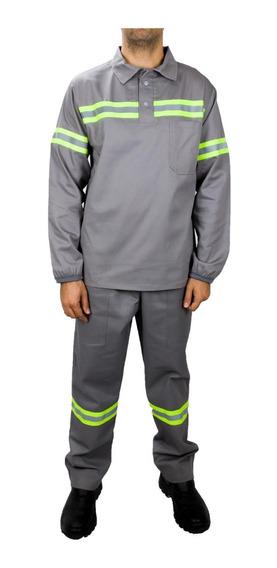 Uniforme De Brim Camisa Manga Longa E Calça Faixa Refletiva