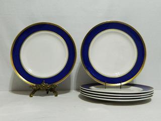 Juego 6 Platos Llanos Porcelana Royal Hartford Guarda Cobalt