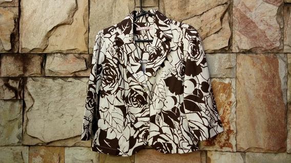 Blazer Marrom Com Estampa Floral Da Amélie Amora Pouco Usado