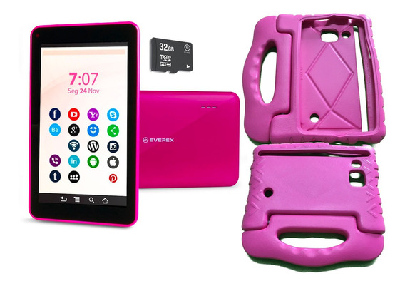 Tablet Android 8 Quad Core + Case Emborrachado Cartão 32gb